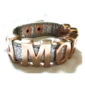 "BCBG Leather Wrap ""AMOR"" Bracelet"